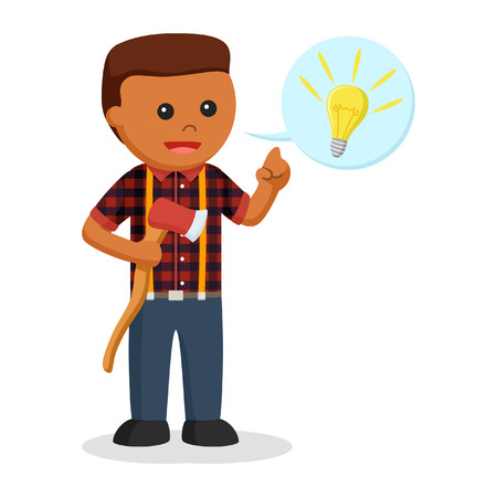 African lumber jack with idea callout Stock Photo