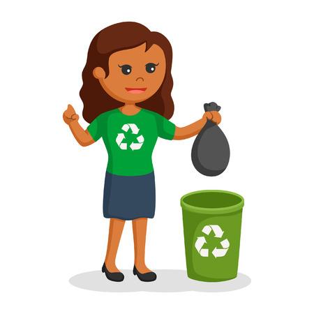 African woman environmental activist put litter to bin Stock Photo