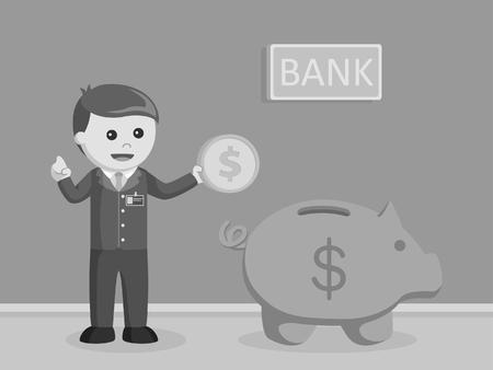 bank teller holding coins beside of giant piggy bank black and white style Banco de Imagens