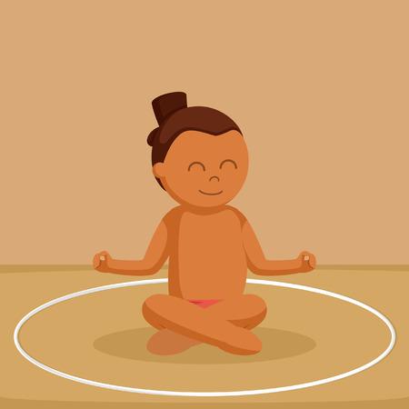 African sumo wrestler meditate