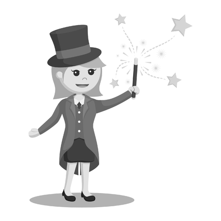 black and white woman magician with wand black and white style