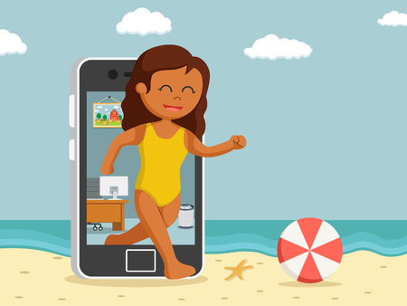 African woman going vacation trough smartphone