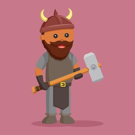 African dwarf warrior with sledgehammer 스톡 콘텐츠