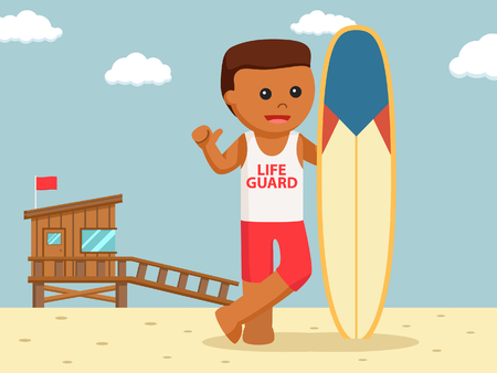 African lifeguard with surf board