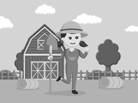 black and white farmer woman holding shovel black and white style Stock Photo