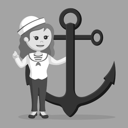 Marinière tenant le style noir et blanc d'ancre Banque d'images - 92654252