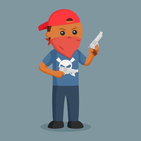 African Gangster wield dual pistol
