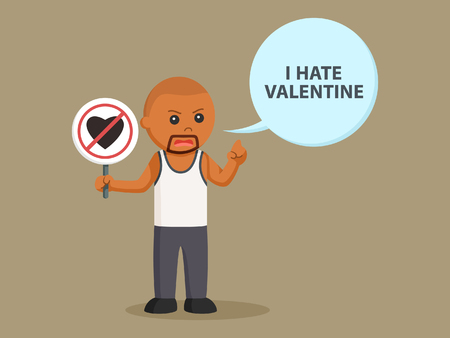 African bald man with sign no valentine and callout