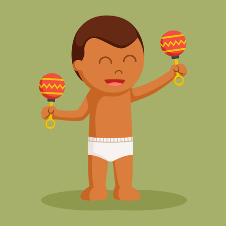 African baby boy with toys