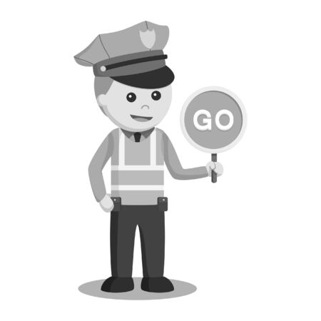 black and white traffic police with go sign black and white style Stock Photo