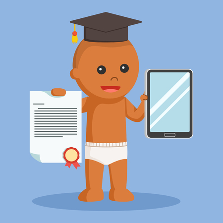 African baby boy with bachelor award and tablet