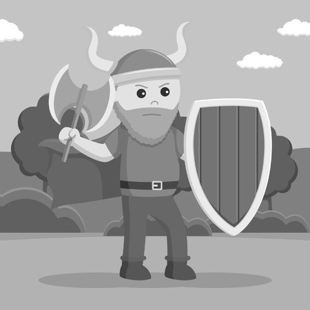 fat viking soldier wield shield and axe black and white style