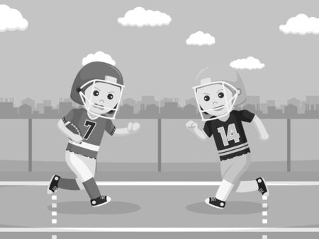 american football player confrontation black and white style