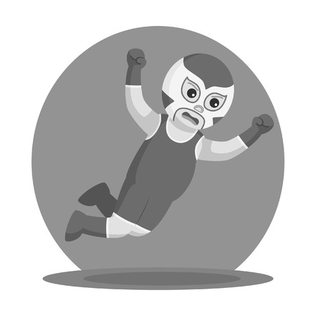 blue lucha libre jumping attack black and white style