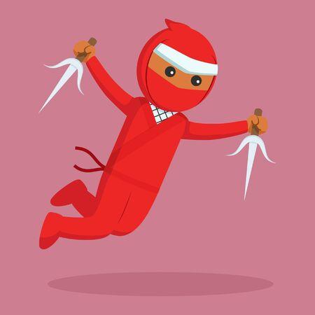 African ninja jumping attack with sai