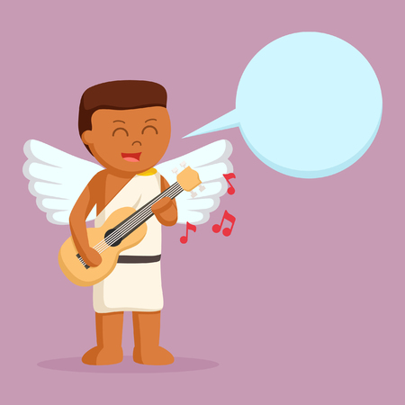 African cupid playing guitar with callout
