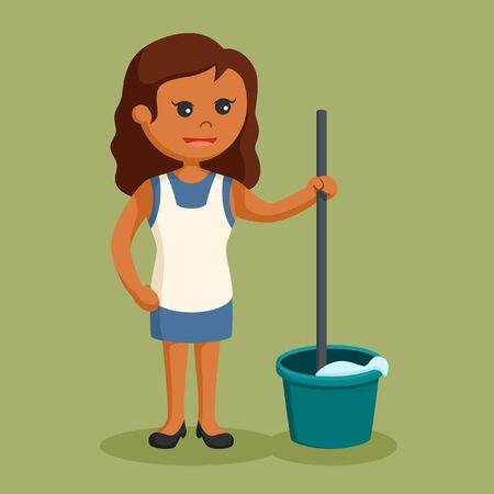 African housewife with mop and bucket Stock Photo
