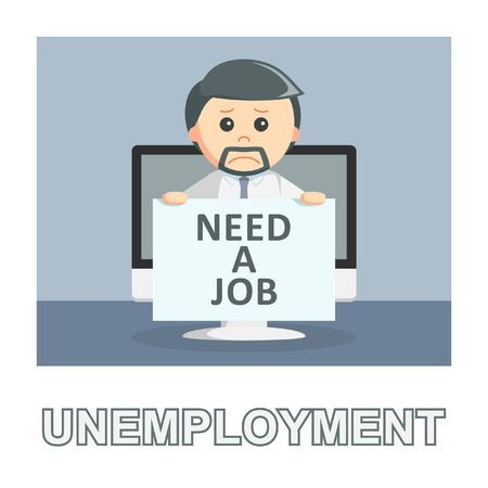 Businessman unemployment photo text style