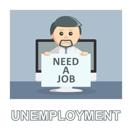 Businessman unemployment photo text style