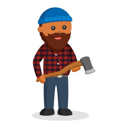 Fat african lumberjack with axe