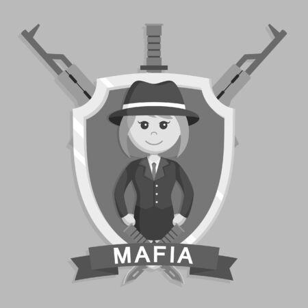Mafia girl in emblem black and white style Stock Photo
