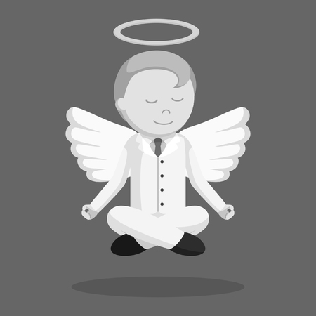 black and white angel businessman flying meditate black and white style