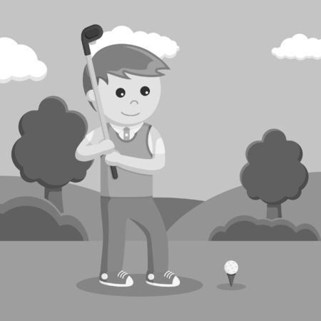 black and white golfer man prepare to hitting ball black and white style 스톡 콘텐츠
