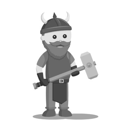 dwarf warrior with sledgehammer black and white style