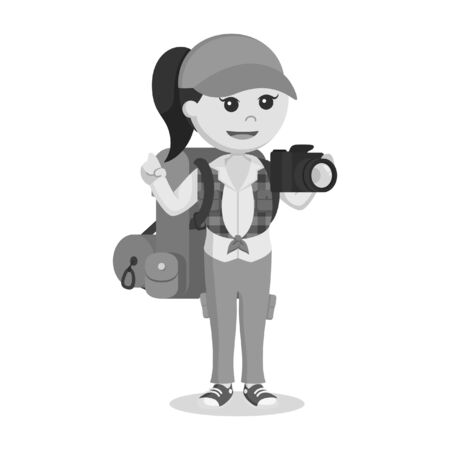 Female hiker holding camera black and white style