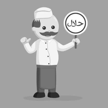 black and white fat butcher man with halal sign black and white style Reklamní fotografie