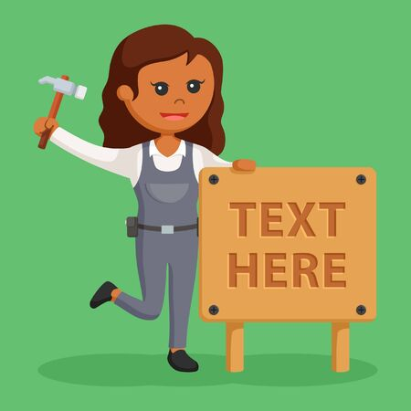 African woman carpenter with wood text sign Stock Photo