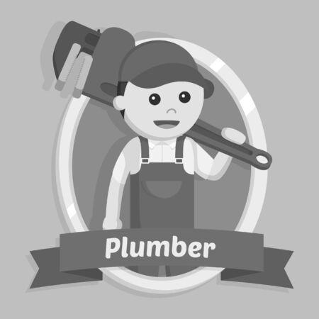 Plumber in emblem black and white style Reklamní fotografie