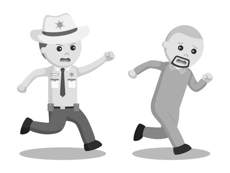 Black and white sheriff officer pursuit escaped prisoner black and white style Stock Photo