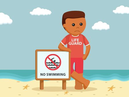 African lifeguard with no swimming sign Stock Photo