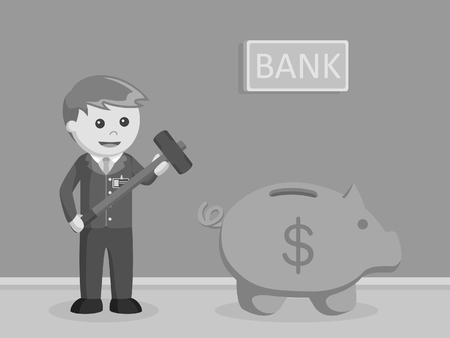 bank teller want to break piggy bank black and white style