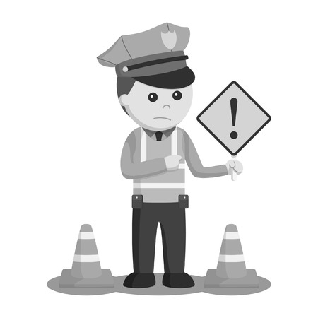 black and white traffic police with danger sign black and white style Stock Photo