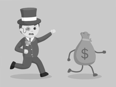 black and white fat rich man chasing money