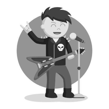 black and white rock singer man color black and white style