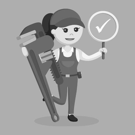 Female plumber holding true sign and giant pipe wrench black and white style
