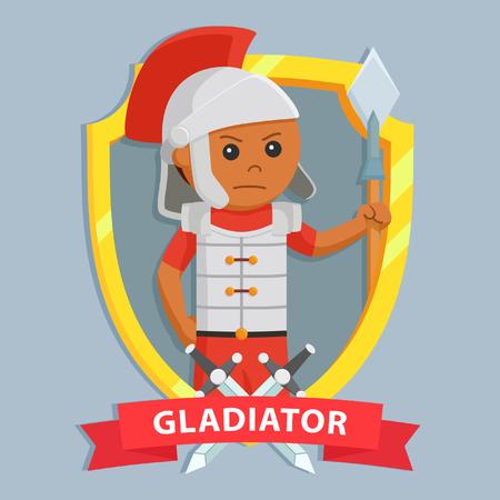 African gladiator in gold emblem