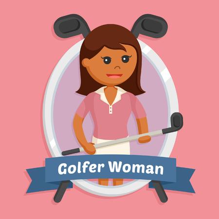 African golfer woman in emblem