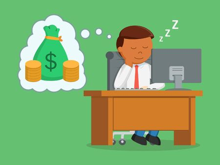 African businessman sleep at work and dreaming of money