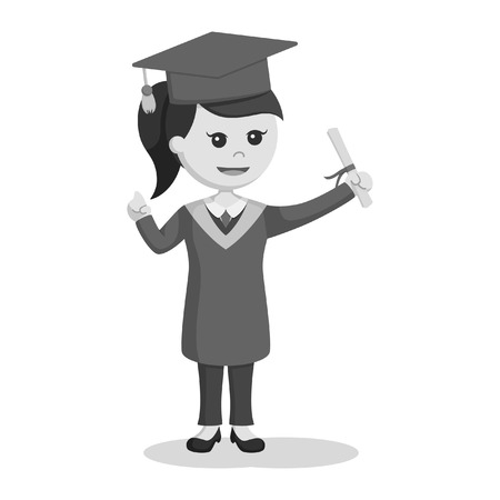 black and white graduate female student holding diploma black and white style