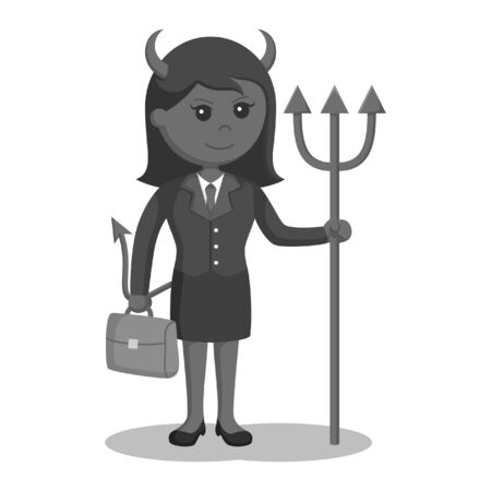 Black and white devil businesswoman with briefcase black and white style