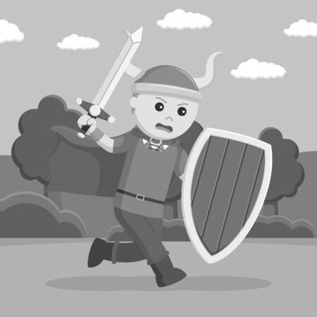 Black and white viking soldier wield shield and sword 스톡 콘텐츠