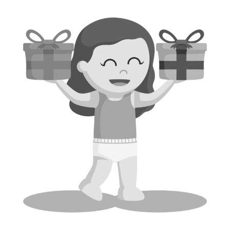 black and white bab girl with two box gift