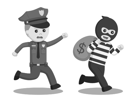 Black and white police office pursuit bank thief Stock Photo