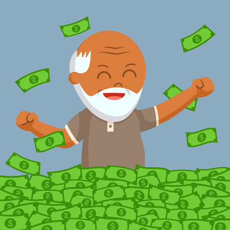 African fat old man enjoy is retirees money Stock Photo