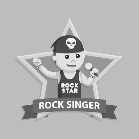 Black and white african rock singer in emblem Stock Photo
