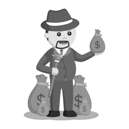 Black and white crime boss with sacks of money Stock Photo